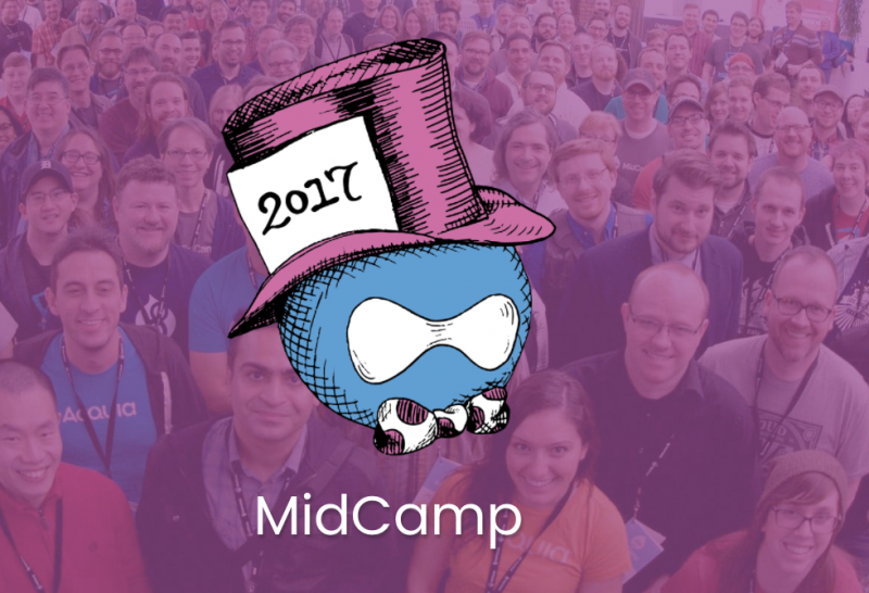 Midcamp logo over group photo from previous year