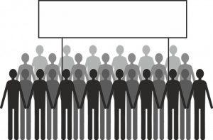 A drawing of many human images in a group